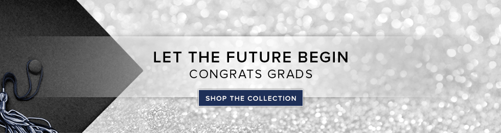 Picture of a graduation cap on a sparkling background. Let the future begin. Congrats Grads. Click to shop the Collection.